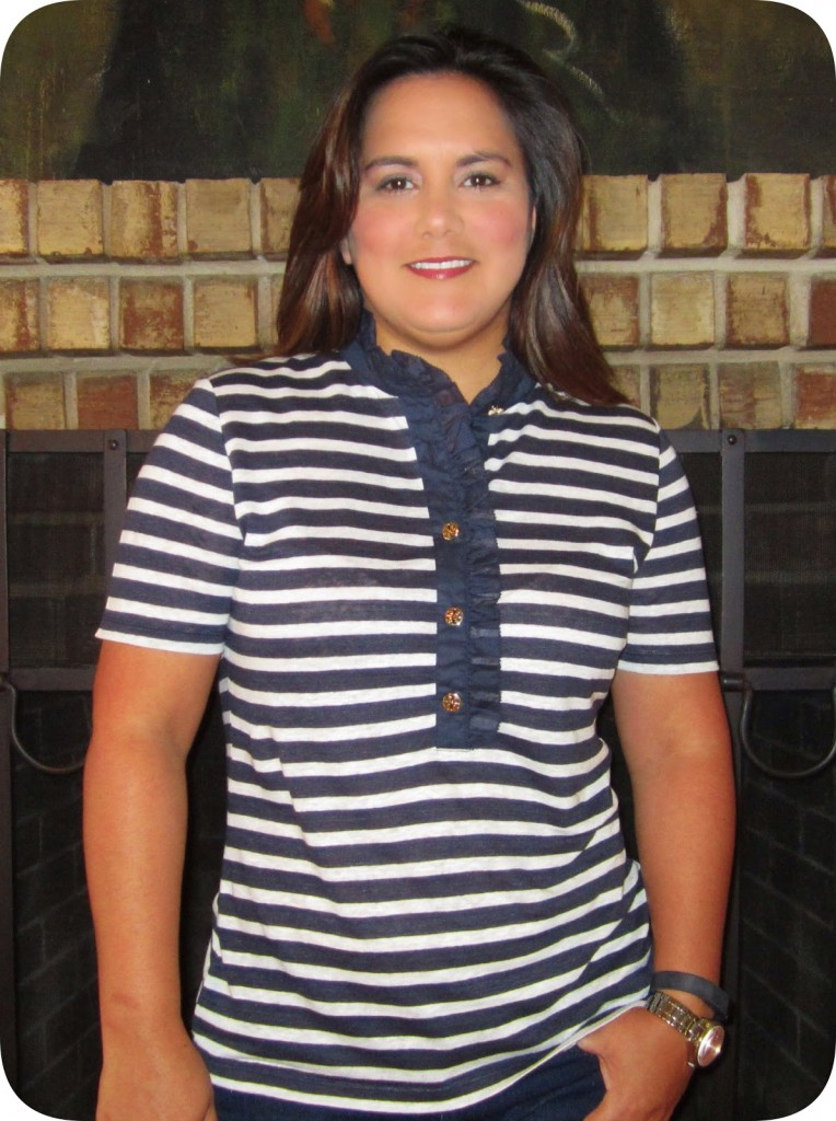 821abd4cef2 I purchased the Lidia Linen Polo during the Tory Burch Friends   Family. I  just love the ruffle at the collar and button-placket!