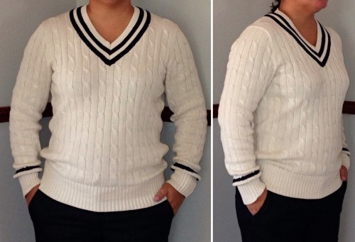 J Crew Factory: Denim Trouser, Slim Cable-Knit V-Neck Sweater ...