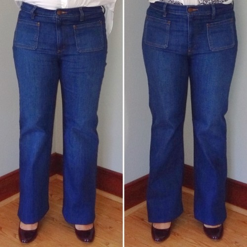 Loft: Wide Leg Trouser Jeans in Mid Indigo Wash, Pleated Flippy ...